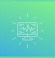 ecg heart diagnostics icon linear style vector image