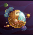 Fantasy steampunk planet on space background