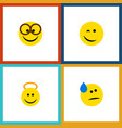 flat icon expression set of winking tears angel vector image