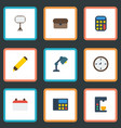 flat icons watch phone suitcase and other vector image vector image