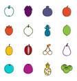 fruit icons doodle set vector image