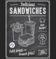 grunge chalkboard fast food menu template 3 vector image