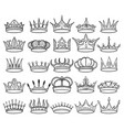 hand drawn doodle crown set vector image vector image