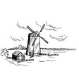 hand drawn landscape with a windmill sketch vector image vector image