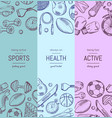 hand drawn sports equipment vertical banner vector image vector image