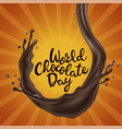 happy chocolate day background with melted vector image vector image