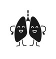 happy human lungs character glyph icon vector image vector image