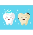 Healthy and unhealthy sad tooth cartoon characters vector image