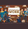 house construction and repair worker banner vector image vector image