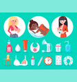 items and breastfeeding moms vector image vector image