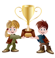 kids holding trophy vector image vector image