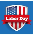 Labor Day sign with USA flag shield vector image vector image
