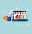 laptop with parasol and ecommerce icons vector image vector image