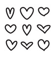 line hearts icons shapes valentine love set vector image vector image
