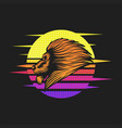 lion sunset retro vector image