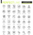 logistics thin line web icons set transportation vector image
