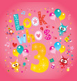 look whos three third birthday card vector image
