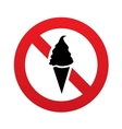 No Ice Cream in waffle cone sign icon Food symbol vector image