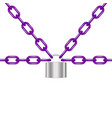 purple chains locked by padlock in silver design vector image vector image