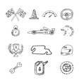 racing icons in a drawing style vector image vector image
