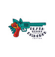 retro revolver rose flower and words death before vector image vector image