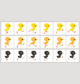 running colorful chickens animation sprite sheet vector image