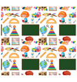 seamless background design with kids and toys vector image vector image