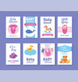 set bashower greeting and invitation card vector image vector image