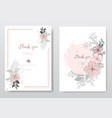 set beautiful pink flower with black line card vector image