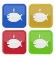set of four square icons - grilling fish and smoke vector image vector image