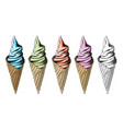 set of icecream in color isolated on white vector image