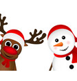 Snowman and Reindeer peeking sideways vector image