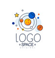 space logo original exploration of space label vector image