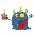 Spotted Blue Birthday Monster Wearing A Party Hat vector image vector image