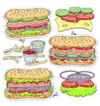 sticker icon cartoon tasty hot dog with vector image vector image