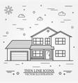 thin line icon suburban american house vector image