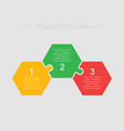three pieces parts puzzle hexagon info graphic vector image