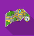 travel map and compass icon in flat style isolated vector image