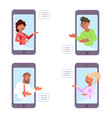video bloggers on smartphone vector image