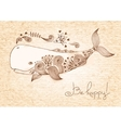 Vintage card with happy whale vector image