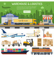 warehouse and logistics banner vector image vector image