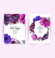 wedding invitation frame set anemone flowers vector image