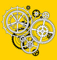 white and black linear gear wheels in flat style vector image