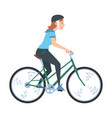 young woman riding bicycles side view girl in vector image