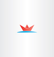 red paper boat in sea water logo vector image