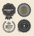Vintage set premium quality and guarantee labels vector image