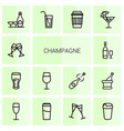 14 champagne icons vector image vector image