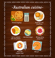 australian cuisine food menu dishes restaurant vector image vector image