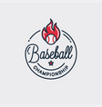 baseball championship logo round linear ball vector image