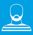 bearded man in prison garb icon white vector image vector image